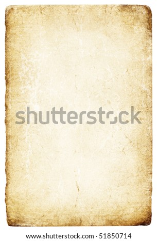 Old grunge paper with torn edges. Isolated on white. - stock photo