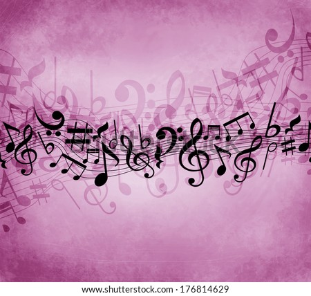 Old grunge pink music background with black notes - stock photo
