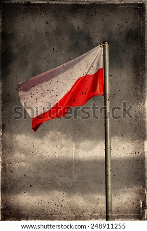 Old Grunge Poland Flag texture and background. - stock photo