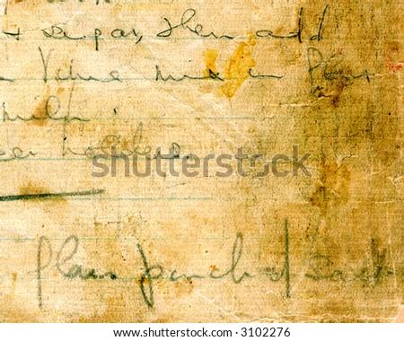 Old grunge recipe handwriting detail - stock photo