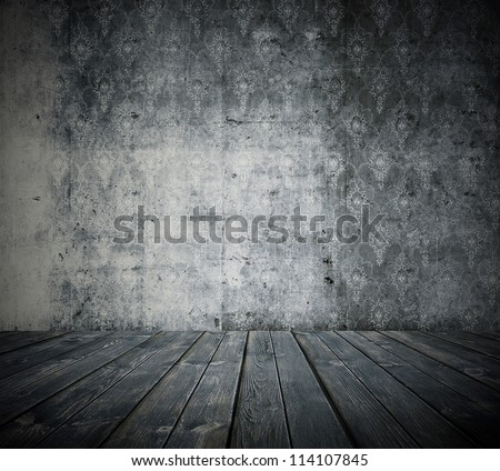 old grunge room, black and white retro background - stock photo