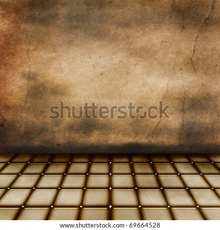 Old grunge room with distressed walls and floor - stock photo