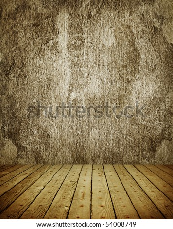 Old grunge room with timber floor