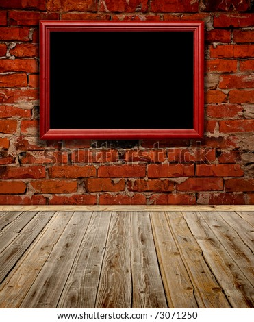 Old grunge room with wooden frame - stock photo