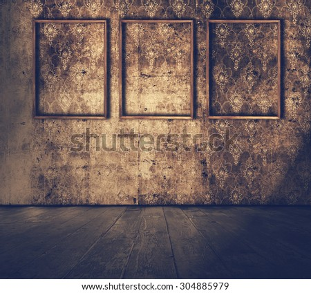 Old grunge room with wooden frames, retro filtered, instagram style - stock photo