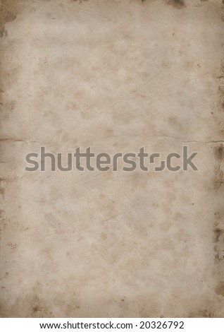 Old grunge sepia brown paper page with stains on edges - stock photo