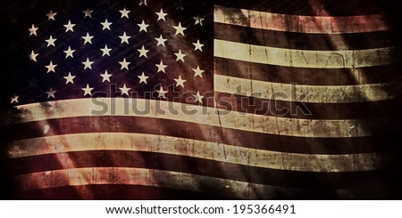 Old Grunge USA Flag - stock photo