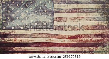 Old Grunge USA Flag - stock photo