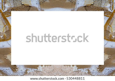 Old Grunge Weathered Peeled Painted Plaster Stucco Wall Frame With Abstract Antique Cracked Scratched Texture Retro Pattern. Empty Space For Image Or Text. Rectangle horizontal 3:2 Aspect Ratio Banner