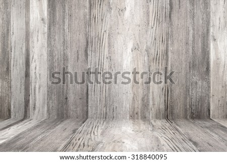 Old grunge wood flooring and wood wall  - stock photo