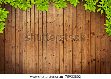 Old grunge Wood Texture with leaves use for background - stock photo