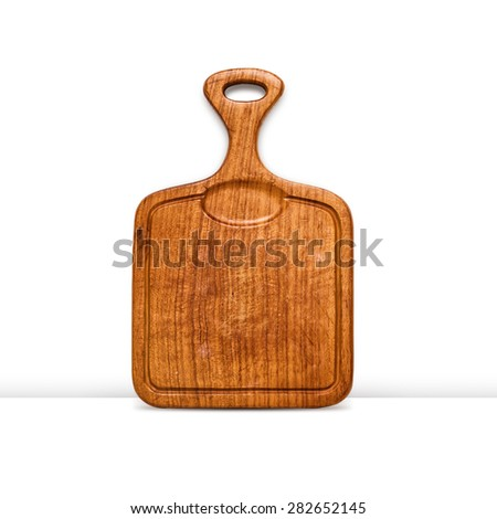 Old grunge wooden cutting board isolated on white background. Kitchen utensils. Object with clipping path - stock photo