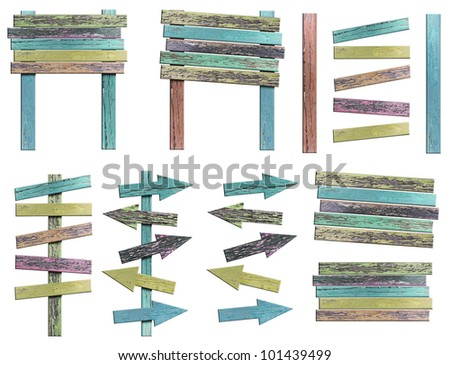 Old Grunge wooden signs on white background (Save Path) for design work - stock photo