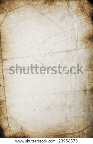 Old grunge wrinkled paper with folds and stains - stock photo
