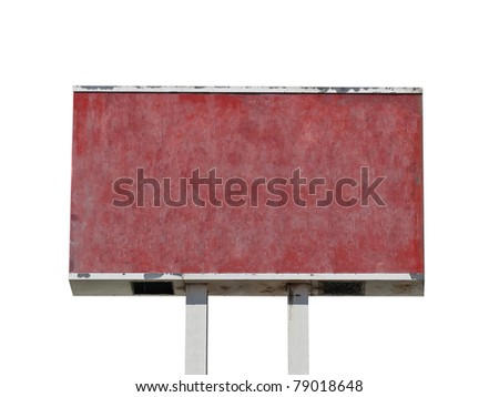 Old grungy blank red sign isolated. - stock photo
