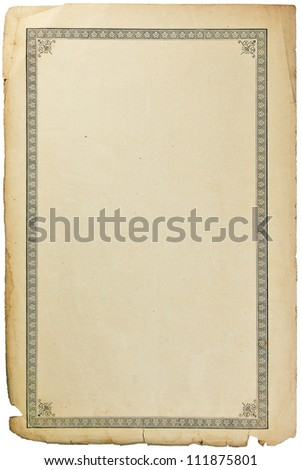 Old grungy book paper sheet page with vignette, isolated on white - stock photo