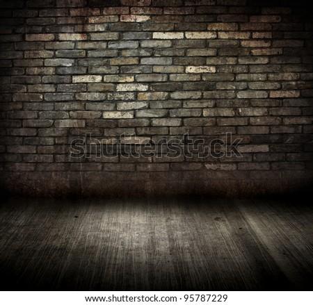old grungy brick room - stock photo