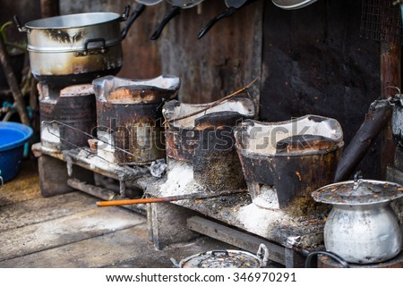 Old grungy dirty stove or cooker kitchen. - stock photo