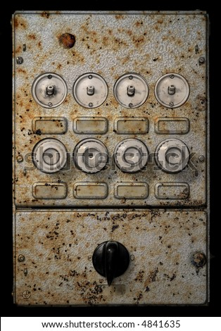 old grungy fuse box - stock photo