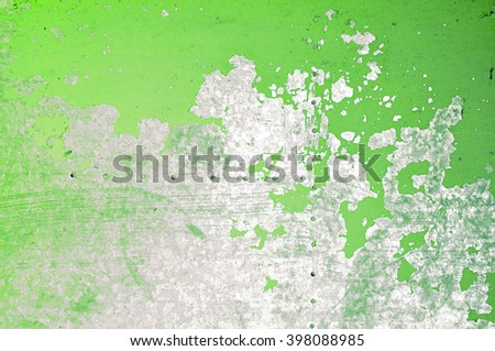 Old grungy metal texture with light green peeling paint - grunge background. - stock photo