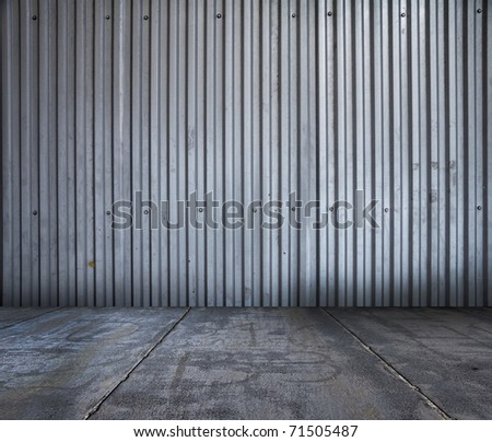 old grungy metallic interior - stock photo