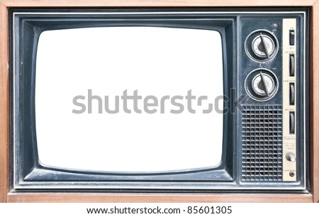 Old grungy vintage TV with clipping path on screen. - stock photo