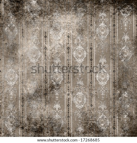 old grungy vintage wallpaper background - stock photo