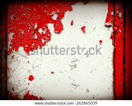Old grungy wall. Peeling stained surface background or texture. - stock photo