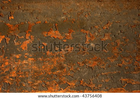 Old  grungy wood background with peeling paint - stock photo