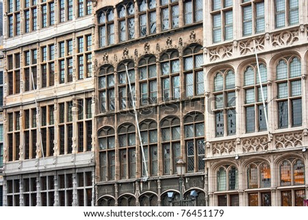 Old guild houses in the main square of Antwerp in Belgium - stock photo