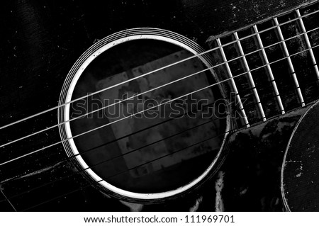 old guitar black and white