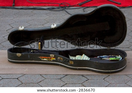 old guitar case - stock photo