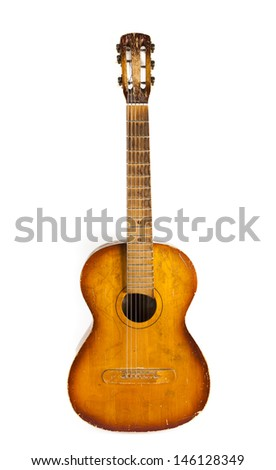 old guitar isolated on white background - stock photo