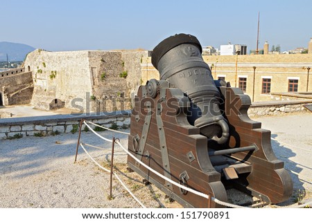 Old gun at the castle of Corfu island in Greece - stock photo