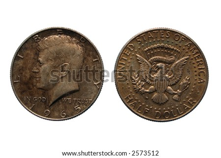 Old half dollar coins isolated on white background - stock photo