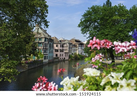 Old half timbered houses in Petite France, Strasbourg - stock photo