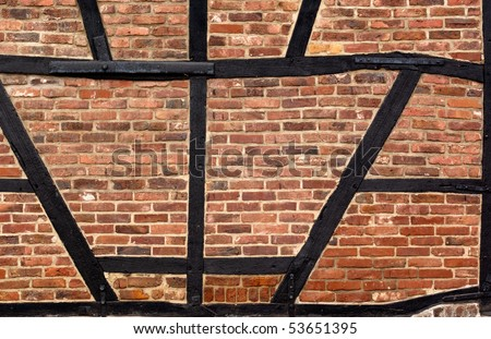 Old half-timbered wall in abandoned town in Germany - stock photo