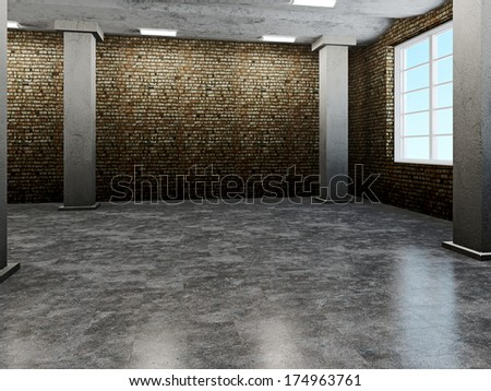 Old hall with dirty walls and floors - stock photo