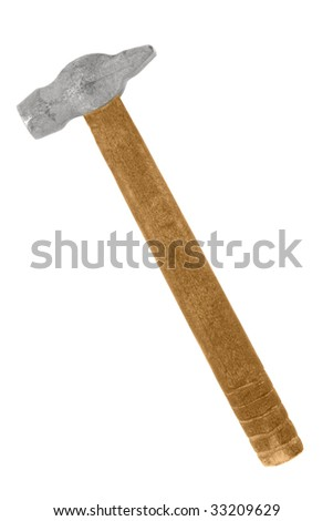 Old hammer isolated over white background