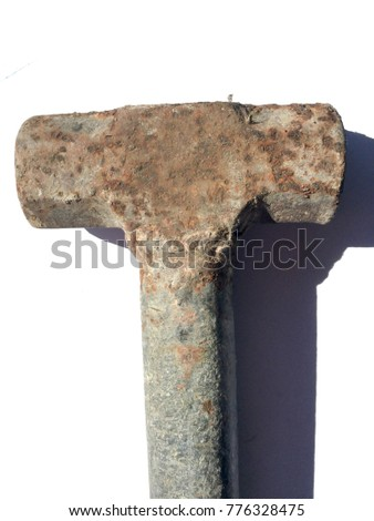 old hammer on white background. Old rusted iron hammer. rust
