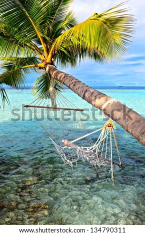 Old hammock, attached to a palm tree on a  beach in The Indian Ocean, Maldives - stock photo