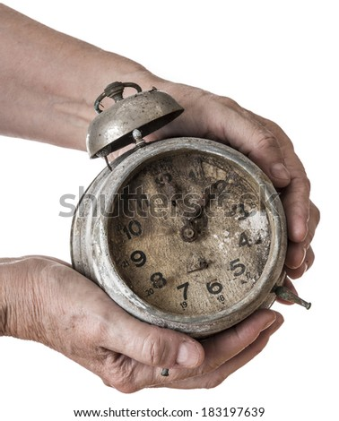 old hand and old clock - stock photo