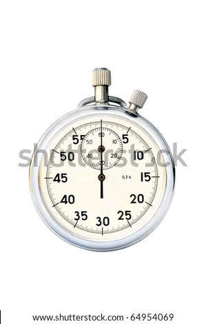 Old hand mechanical stop-watch against white background - stock photo