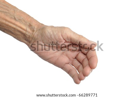 old hand on a white background