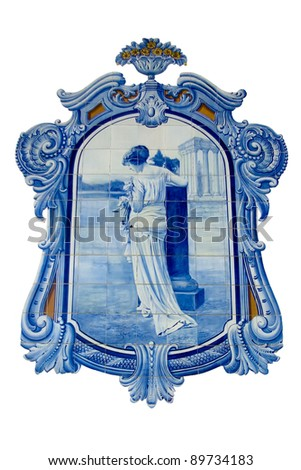 Old hand painted blue tiles (Azulejos) from ancient Portuguese culture over white background. - stock photo