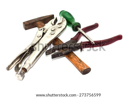 Old hand tools on white background - stock photo