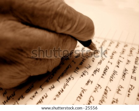 Old Hand Writing Letter - stock photo