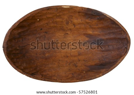 old handmade carved wooden bowl, isolated on white - stock photo
