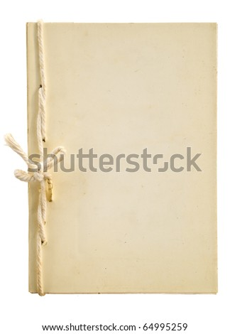 Old handmade notebook isolated on white background - stock photo