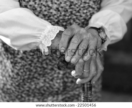 old hands of a woman - stock photo